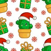 Christmas Seamless Pattern With Kawaii Smiling Cactus Or Succulent In Santa Hat, Gift Box, Snowflake poster