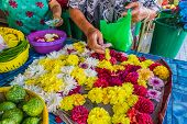 George Town Penang Malaysia. March 6 2019. Flower Garland Makers In George Town Malaysia. poster