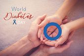 Adult And Child Holding Blue Circle, Copy Space Background, World Diabetes Day poster