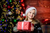 Kid Adorable Wear Santa Hat Celebrate Christmas. Buy Christmas Gift. Winter Shopping. Girl Cute Chil poster