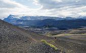 Icelandic Lava Desert Landscape With Tindfjallajokull Glacier And Two Hikers On Laugavegur Hiking Tr poster