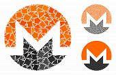 Monero Currency Mosaic Of Humpy Parts In Different Sizes And Color Tones, Based On Monero Currency I poster