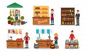 Vendors Characters Selling Farm Products Vector Illustrated Set poster