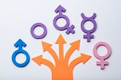 Multiple Arrows Pointing To Gender Signs. Free Gender Choice Concept poster