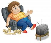 stock photo of fat-guts  - Fat and unhealthy man watching tv - JPG