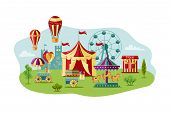 Amusment Park With Circus Tent, Carousel, Castle, Big Whell, Air Ballon. Great For Carnival, Theme P poster