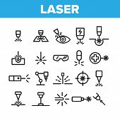 Laser Beam Collection Elements Icons Set Vector Thin Line. Optical Equipment And Technology Laser, E poster