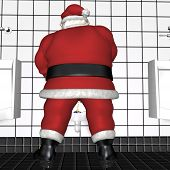 stock photo of humbug  - Santa standing in a restroom using a urinal.