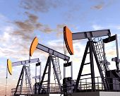 stock photo of oilfield  - Illustration of three oil rigs in the desert - JPG