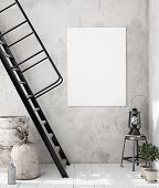 Mock-up Poster Frame In Decorated Room Interior, Scandinavian Style, 3d Illustration poster