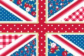 pic of british culture  - Cute British Flag in Shabby Chic floral style - JPG