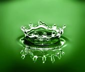 image of crown green bowls  - water crown caused by a water droplet falling into a bowl of water - JPG
