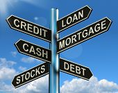 stock photo of borrower  - Credit Loan Mortgage Signpost Shows Borrowing Finance And Debt - JPG
