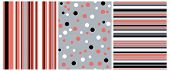 Set Of 3 Varius Abstract Vector Prints. Red, White And Black Dots Isolated On A Gray Background. Whi poster