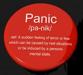 Panik Definition Button mit Trauma-Stress und Hysterie