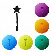 Black Magic Wand Icon Isolated On White Background. Star Shape Magic Accessory. Magical Power. Set I poster