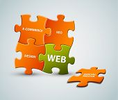 Vector puzzle web solution illustration - orange and green