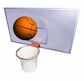 stock photo of netball  - Illustration of a basketball hoop and a basketball ball at a bluish background - JPG