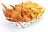 pic of french fries  - Fried shrimp and french fries basket isolated on white background - JPG