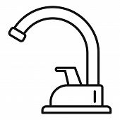 Plumbing Faucet Icon. Outline Plumbing Faucet Vector Icon For Web Design Isolated On White Backgroun poster
