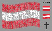 Waving Austrian Official Flag. Vector Religious Cross Design Elements Are United Into Mosaic Austria poster