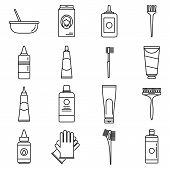 Woman Hair Dye Icons Set. Outline Set Of Woman Hair Dye Vector Icons For Web Design Isolated On Whit poster