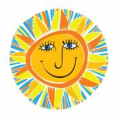 picture of ruddy-faced  - vector abstract smiling sun on white background - JPG