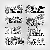 Set Of Vector Wheel Of Time Lettering: For Samhain, Yule, Imbolc, Ostara, Beltain, Litha, Lammas And poster
