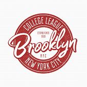 Brooklyn Vintage Typography For Slogan T-shirt. New York City Grunge Authentic Print For T Shirt. Gr poster