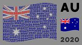 Waving Australia Flag. Vector 2020 Year Text Items Are Organized Into Conceptual Australia Flag Illu poster