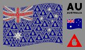 Waving Australia State Flag. Vector Caution Design Elements Are Organized Into Conceptual Australia  poster