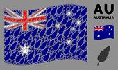 Waving Australia State Flag. Vector Feather Design Elements Are Organized Into Conceptual Australia  poster