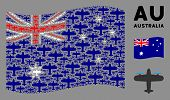 Waving Australia Official Flag. Vector Aircraft Design Elements Are Grouped Into Conceptual Australi poster