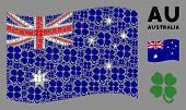 Waving Australia Flag. Vector Four-leafed Clover Pictograms Are Organized Into Geometric Australia F poster