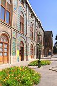 Facade of Golestan Palace (Marble Palace, Palace of Roses), royal Qajar complex inTehran, Iran. UNES poster