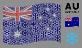 Waving Australia State Flag. Vector Snowflake Design Elements Are Combined Into Mosaic Australia Fla poster