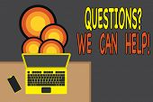 Handwriting Text Writing Questionsquestion We Can Help. Concept Meaning Offering Help To Those Who W poster