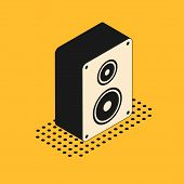 Isometric Stereo Speaker Icon Isolated On Yellow Background. Sound System Speakers. Music Icon. Musi poster