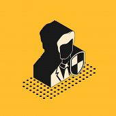 Isometric User Protection Icon Isolated On Yellow Background. Secure User Login, Password Protected, poster