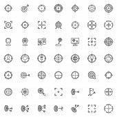 Target Aim Line Icons Set. Linear Style Symbols Collection, Outline Signs Pack. Vector Graphics. Set poster
