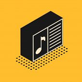 Isometric Music Book With Note Icon Isolated On Yellow Background. Music Sheet With Note Stave. Note poster