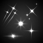 Light Flashes Vector Illustration. Glowing, Twinkling Comets On Transparent Background. Sparkling Ex poster