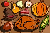Wallpaper For Thanksgiving. Large Set. Poster And Postcard For Thanksgiving. Cake, Turkey, Different poster
