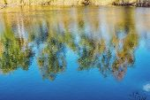 Reflection In Water, Autumn Colored Background, Trees Reflected In Slightly Wavy Water poster
