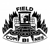 Field Combines Logo. Simple Illustration Of Field Combines Vector Logo For Web Design Isolated On Wh poster