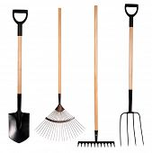 stock photo of spade  - Gardening tools - JPG
