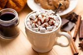 Cup Of Hot Chocolate With Marshmallows, Chocolate Sauce And Cinnamon. Cozy Warm Drink, Comfort Food poster