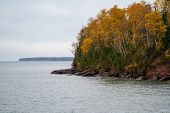 Apostle Islands National Lakeshore Along Lake Superior In Wisconsin During Fall Color Season On Over poster