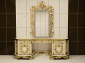 image of cheval  - Baroque gold mirror with royal chest - JPG