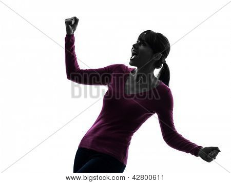 one caucasian woman arms outstretched screaming happy  in silhouette studio isolated on white background